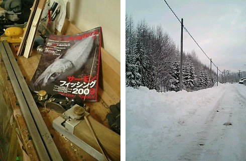 雑誌と雪景色